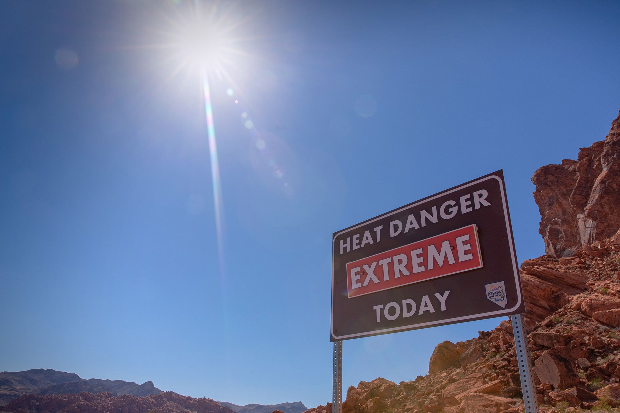 extreme heat in the valley of fire