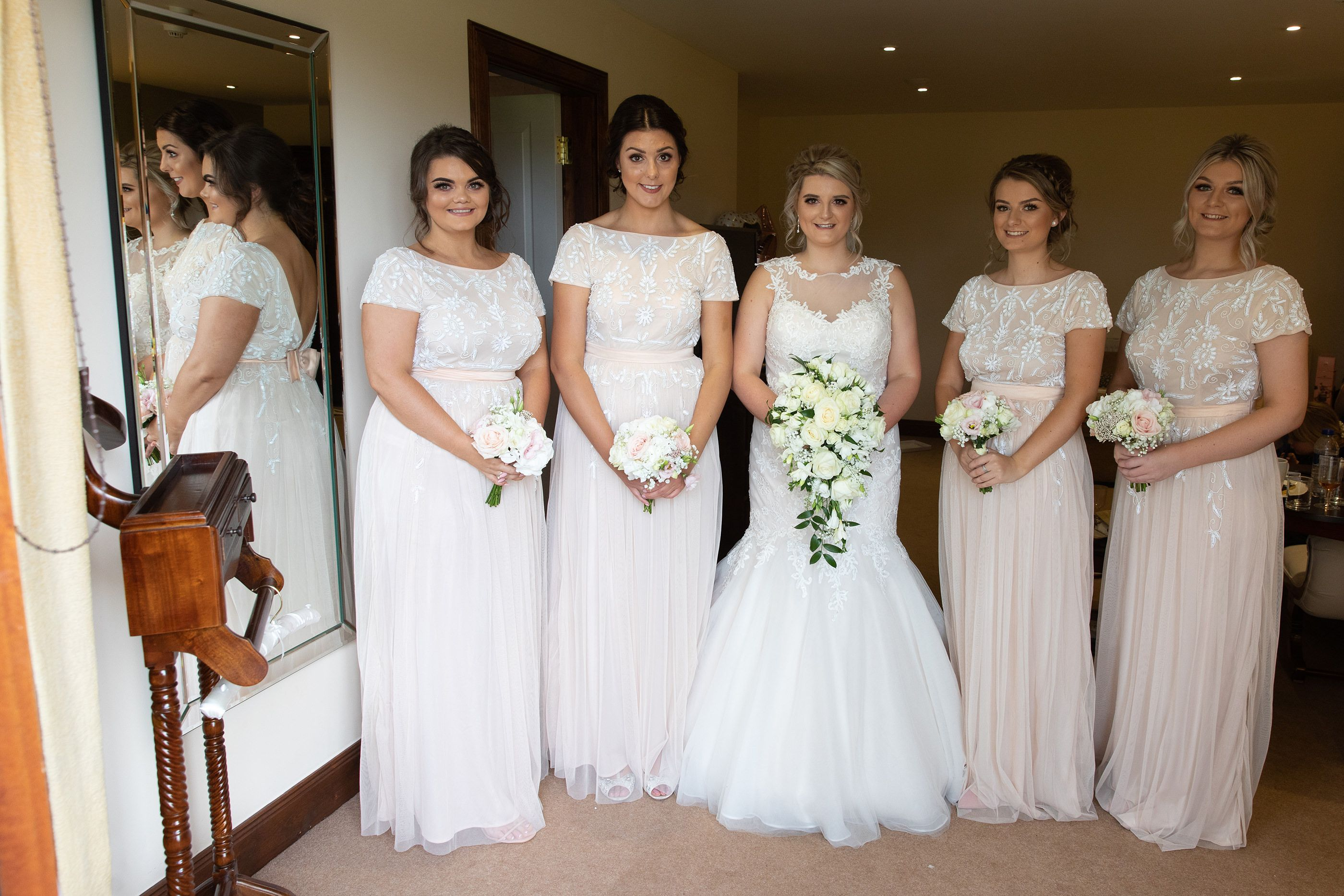 the bride and bridesmaids all ready for the wedding