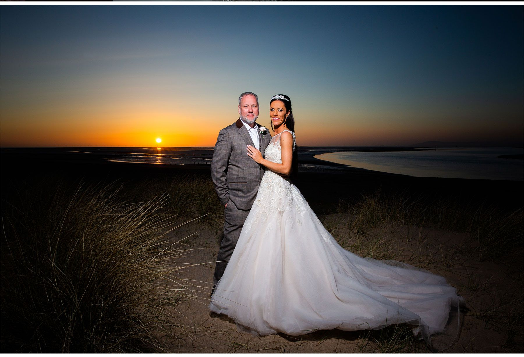 bride and groom sunset