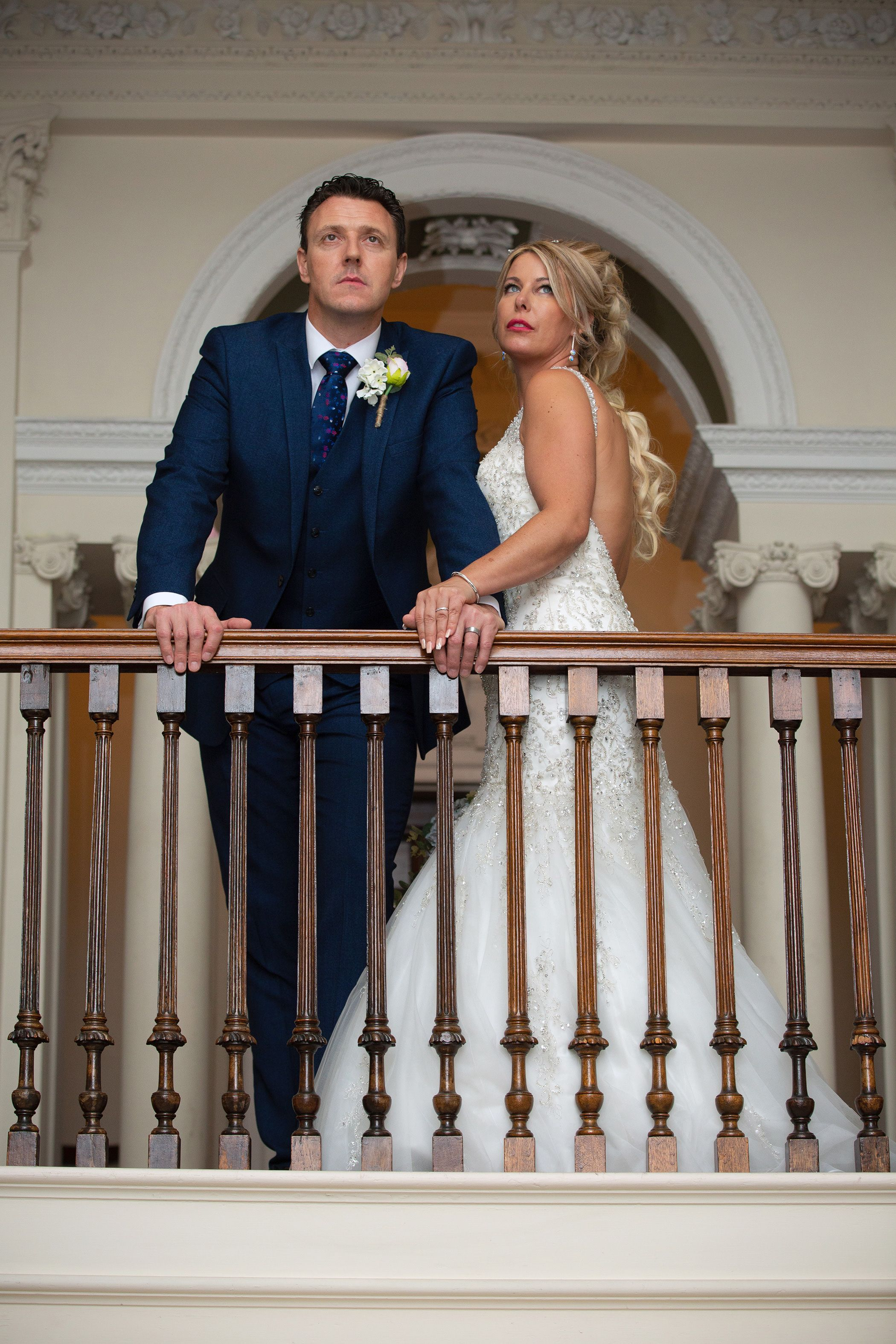 the bride on the lovely staircase at Lytham Hall