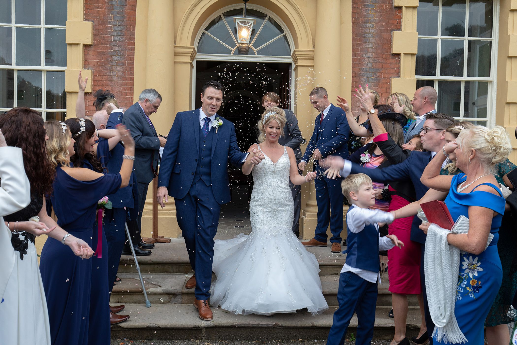 Confetti throwing at the front of Lytham Hall