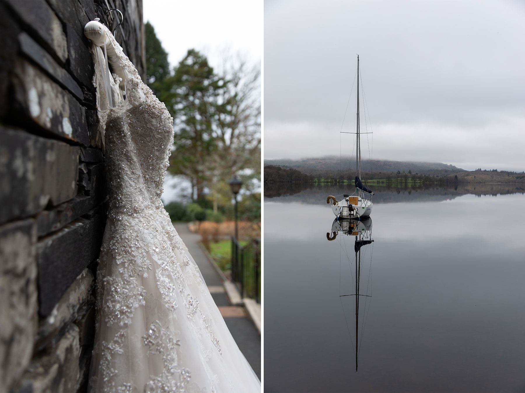 wedding dress hanging by lake windermere