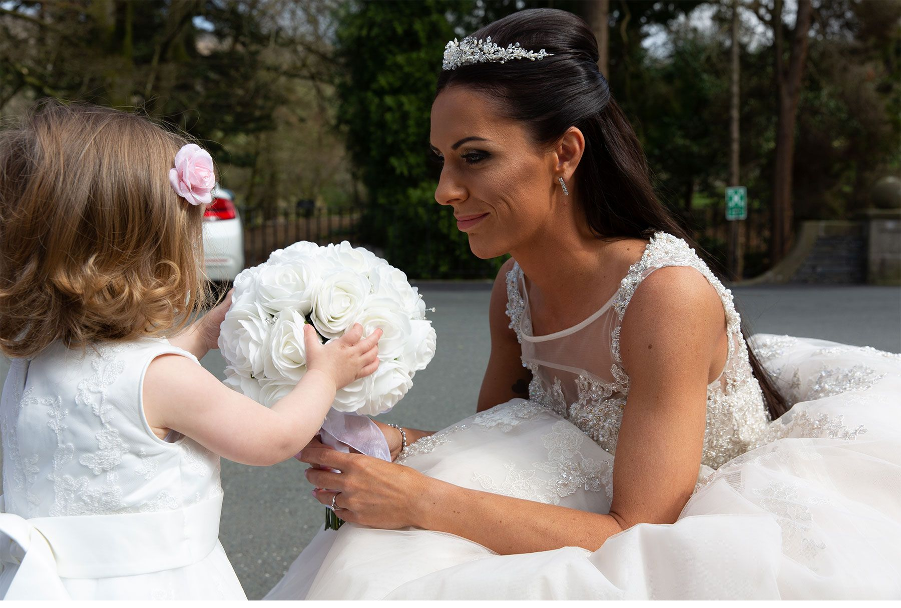 the bride and her daughter the little flower girl