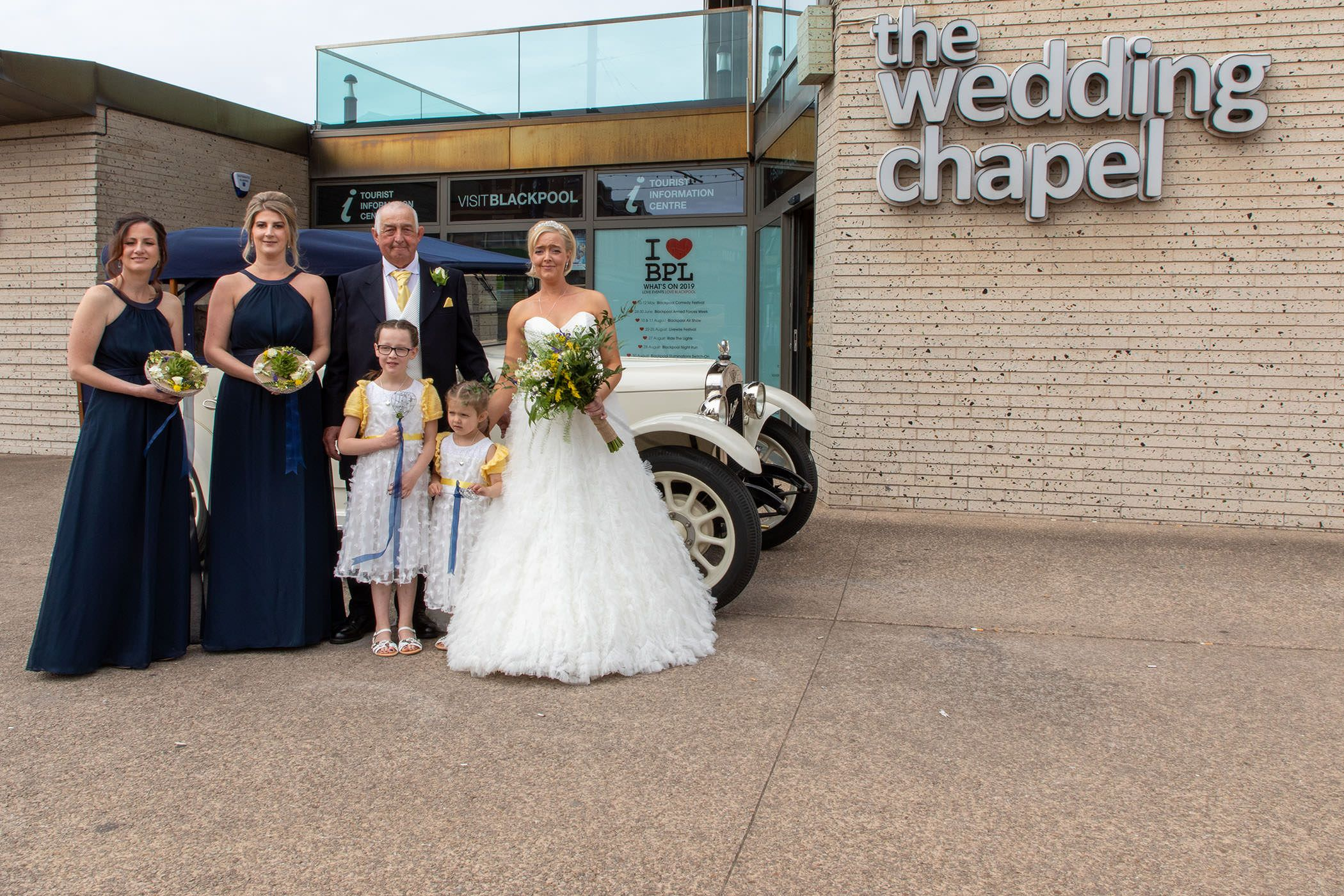 the bride arrives at the blackpool wedding chapel