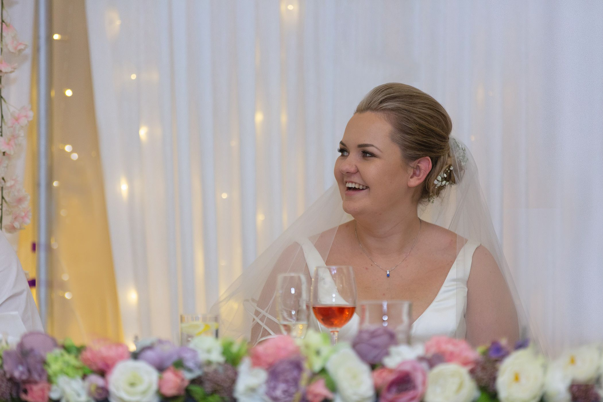 the bride having fun