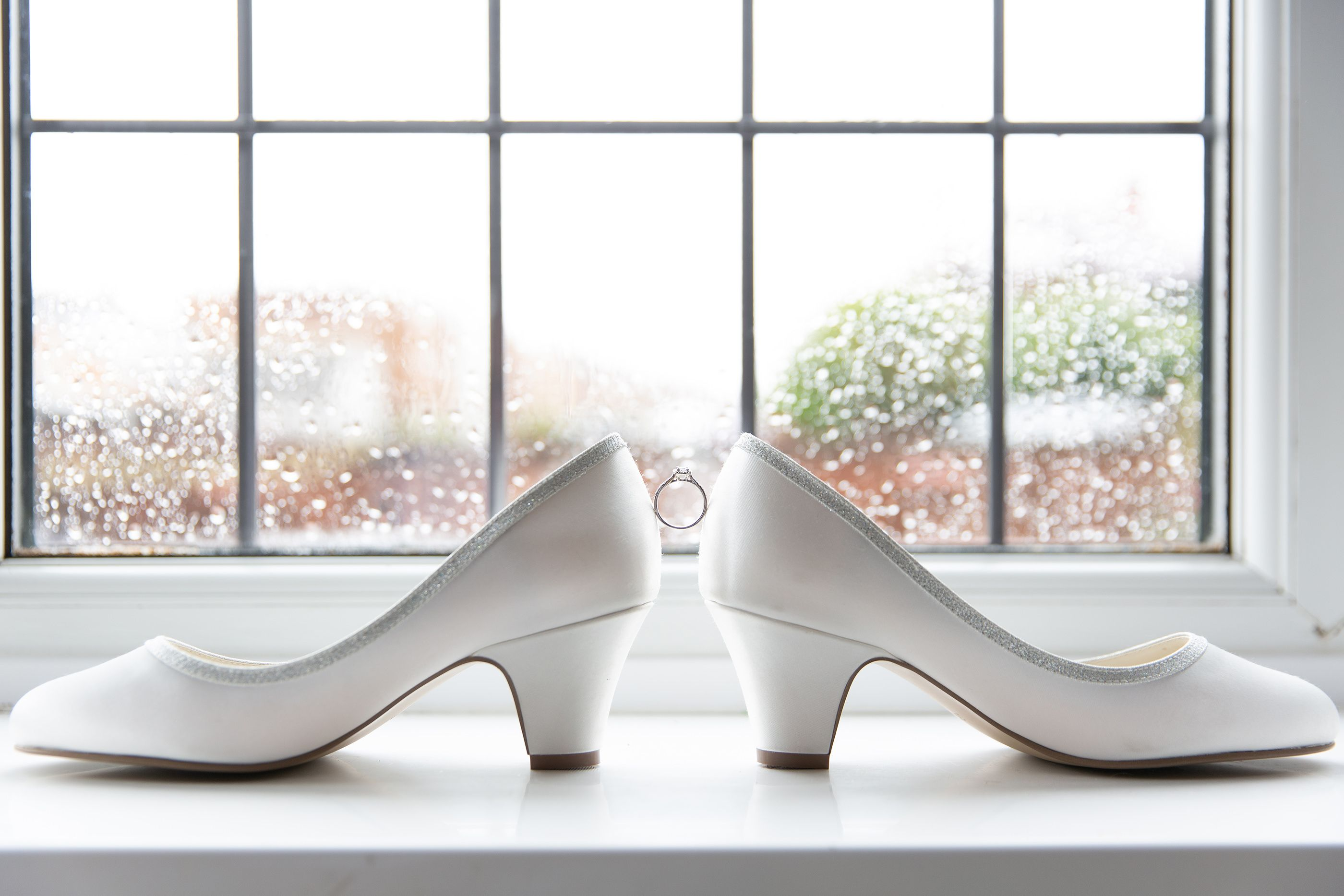 the wedding shoes of the bride