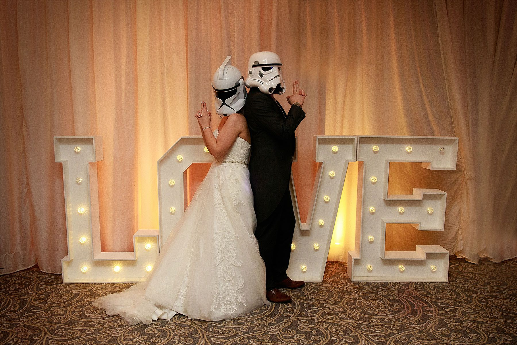 star wars trooper helmets fun bride and groom