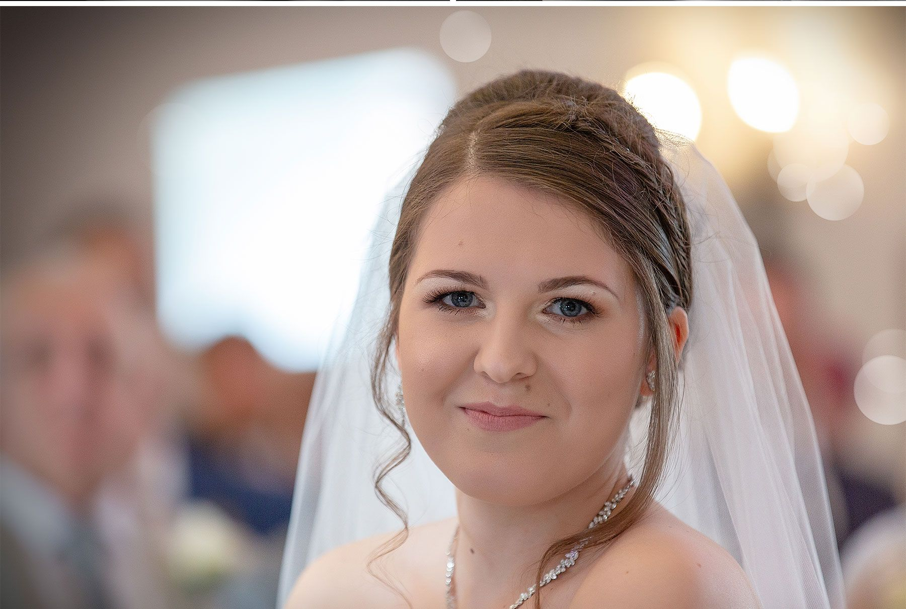 the bride glances at the camera